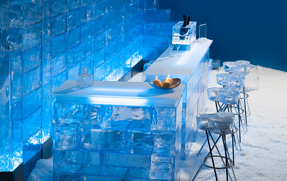 Renting decorative artificial ice and snow products